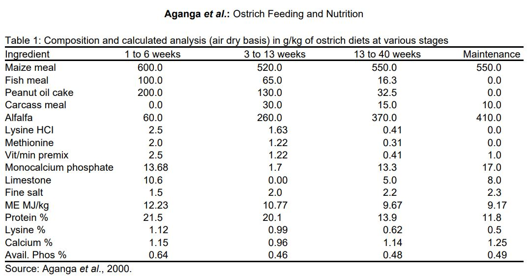 Ostrich food and nutrition